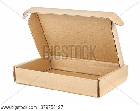 Empty Open Flat Brown Carton Box Isolated On White Background