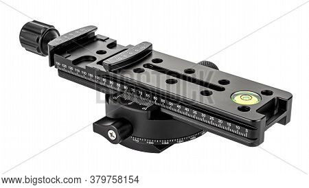 Nodal Slide Rail With Rotary Panoramic Tripod Head Isolated On White Background. Panoramic Shooting