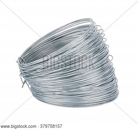 View Of Universal Galvanized Wire In Coil Isolated On White Background