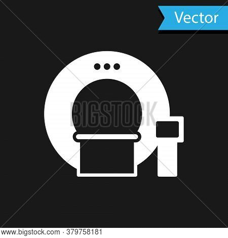 White Tomography Icon Isolated On Black Background. Medical Scanner, Radiation. Diagnosis, Radiology