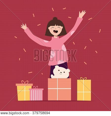 Little Happy Girl Opens Gift Boxes And Rejoices At A Teddy Bear. Smiling Child With Toy And Presents