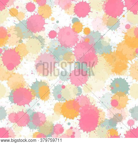 Graffiti Spray Transparent Stains Vector Seamless Wallpaper Pattern. Abstract Ink Splatter, Spray Bl