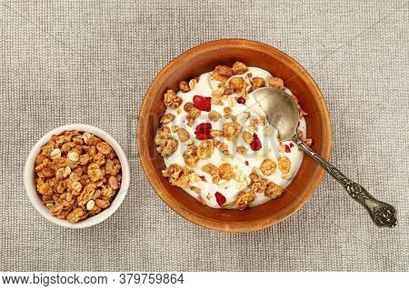Close Up Portion Of Muesli Granola Breakfast With Yogurt, Fruits And Berries, Elevated Top View, Dir
