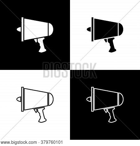 Set Spread The Word, Megaphone Icon Isolated On Black And White Background. Vector Illustration