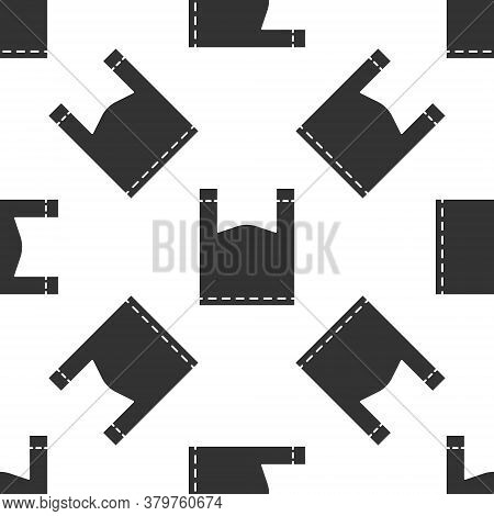Grey Plastic Bag Icon Isolated Seamless Pattern On White Background. Disposable Cellophane And Polyt