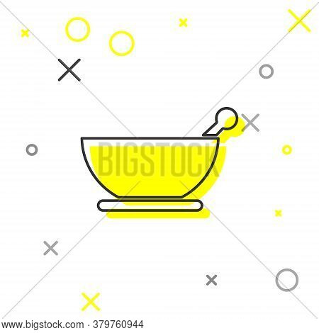 Grey Line Mortar And Pestle Icon Isolated On White Background. Vector Illustration