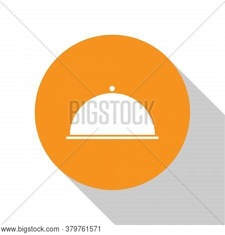 White Covered With A Tray Of Food Icon Isolated On White Background. Tray And Lid. Restaurant Cloche