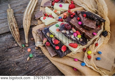 Chocolate Mix With Colorful Candy And Fruit
