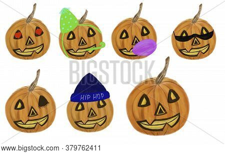 Set Of Halloween Pumpkins With Cute Faces And Accessories. Halloween Concept. Utensil, Stationery, M