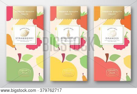 Dried Fruits Label Packaging Design Layout Collection. Vector Paper Box With Fruit And Berries Patte