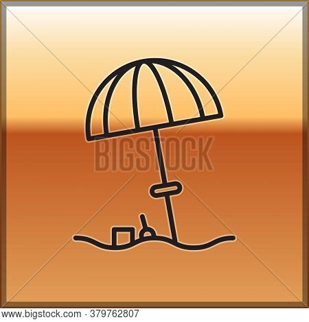 Black Line Sun Protective Umbrella For Beach Icon Isolated On Gold Background. Large Parasol For Out