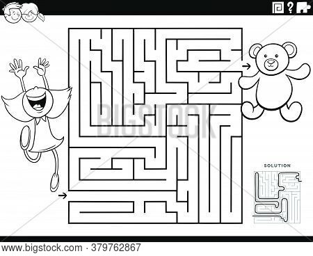 Black And White Cartoon Illustration Of Educational Maze Puzzle Game For Children With Girl Characte