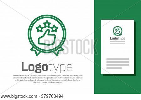 Green Line Consumer Or Customer Product Rating Icon Isolated On White Background. Logo Design Templa