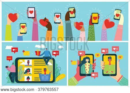 Vector Concept On Online Dating Application In Flat Design. Male And Female Hands Holding Mobile Pho