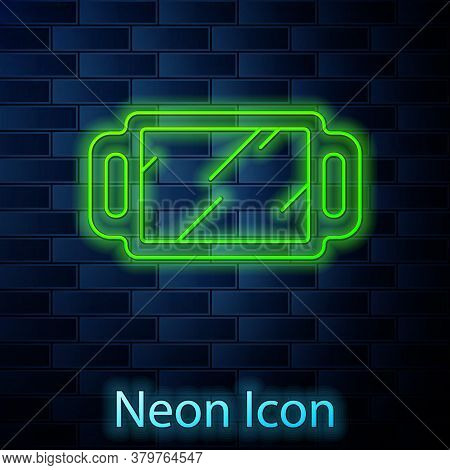 Glowing Neon Line Hand Mirror Icon Isolated On Brick Wall Background. Vector Illustration