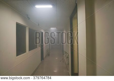 Kolkata, West Bengal, India - 21st June 2020 : An Office Corridor After Sanitization Spray Used, San
