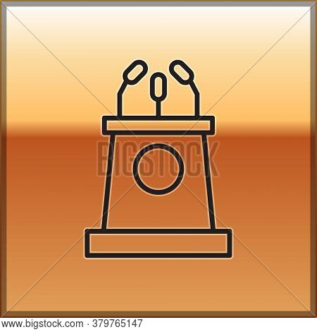 Black Line Stage Stand Or Debate Podium Rostrum Icon Isolated On Gold Background. Conference Speech