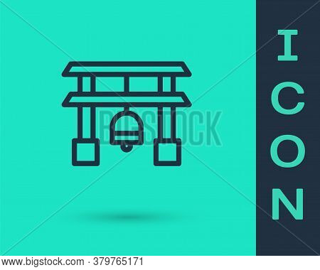 Black Line Japan Gate Icon Isolated On Green Background. Torii Gate Sign. Japanese Traditional Class