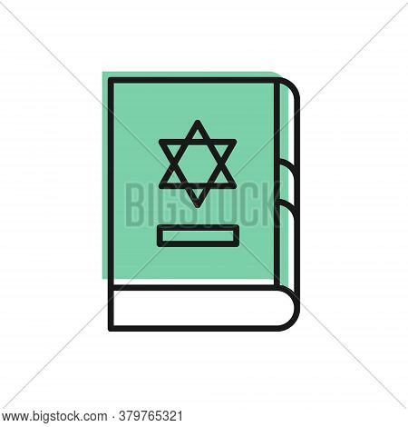 Black Line Jewish Torah Book Icon Isolated On White Background. On The Cover Of The Bible Is The Ima