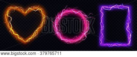 Electric Lightning Frames In Shape Of Circle, Heart And Rectangle. Digital Glowing Neon Borders. Vec