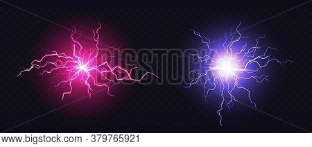 Lightning Ball, Electric Strike Impact. Vector Realistic Set Of Sparking Blue And Pink Flashes, Elec