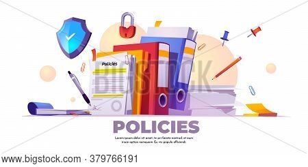 Policies Banner. Concept Of Business Documents For Law Compliance, Legal Regulation Quality And Proc