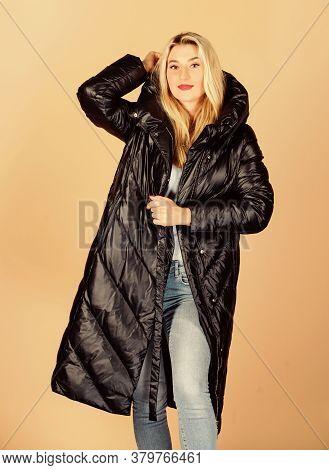 Back In Black. Girl Enjoy Wearing Bright Jacket With Hood. Warm Coat. Comfortable Down Jacket. Findi