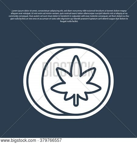 Blue Line Herbal Ecstasy Tablets Icon Isolated On Blue Background. Vector Illustration