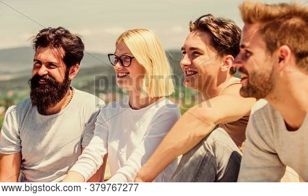 Happy Family Together. Best Friends. Summer Vacation. Happy Men And Girl Relax. Group Of Four People