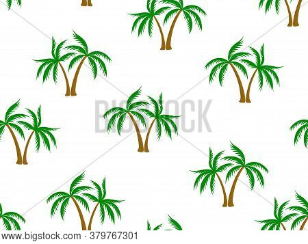Coconut Green Palm Tree Pattern Textile Material Tropical Forest Background. Beautiful Vector Wallpa