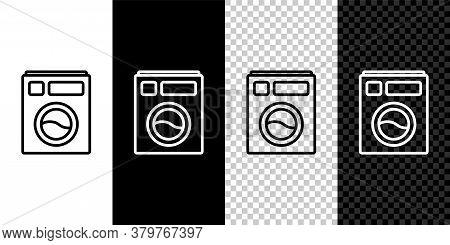 Set Line Washer Icon Isolated On Black And White Background. Washing Machine Icon. Clothes Washer -