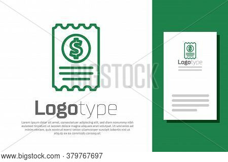 Green Line Paper Check And Financial Check Icon Isolated On White Background. Paper Print Check, Sho