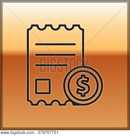 Black Line Paper Check And Financial Check Icon Isolated On Gold Background. Paper Print Check, Shop