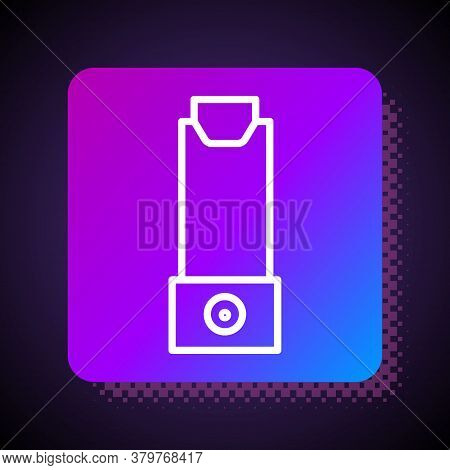 White Line Inhaler Icon Isolated On Black Background. Breather For Cough Relief, Inhalation, Allergi