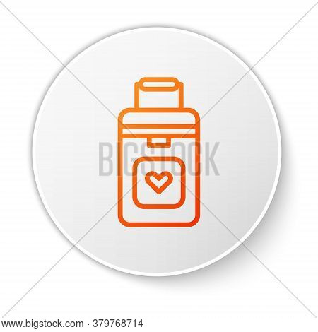 Orange Line Cooler Box For Human Organs Transportation Icon Isolated On White Background. Organ Tran