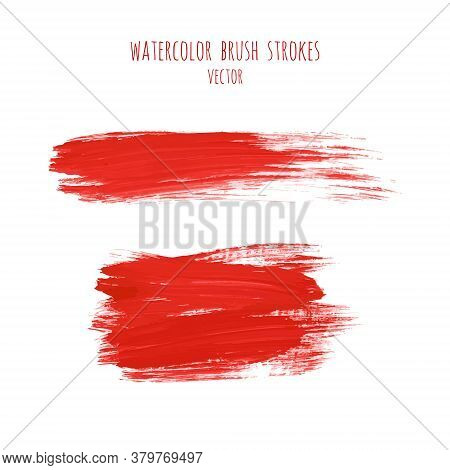 Vector Set Of Bloody Red Ink Watercolor Hand Painted Texture Backgrounds Isolated On White. Abstract