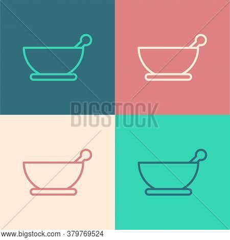 Pop Art Line Mortar And Pestle Icon Isolated On Color Background. Vector Illustration