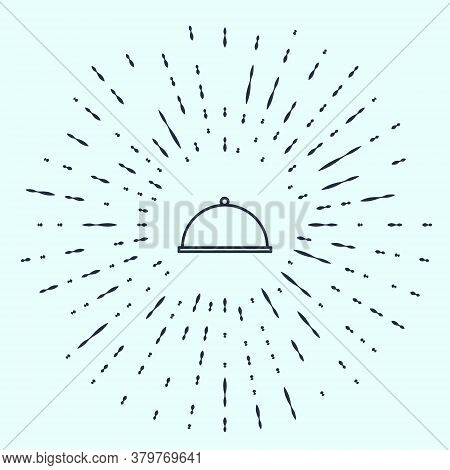 Black Line Covered With A Tray Of Food Icon Isolated On Grey Background. Tray And Lid. Restaurant Cl