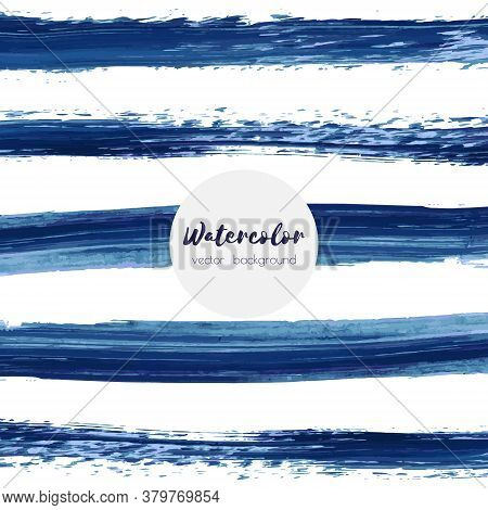 Dark Navy Blue Vector Watercolor Hand Painted Texture Background Isolated On White. Abstract Acrylic