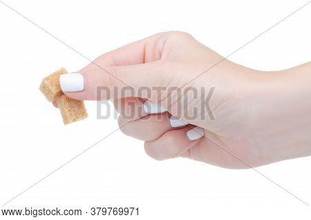 Cane Brown Sugar Cubes In Hand On White Background Isolation