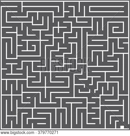 A Whie Square Labyrinth Top View On Dark Gray Background. Classic Maze Game. Gray Maze For Your Busi