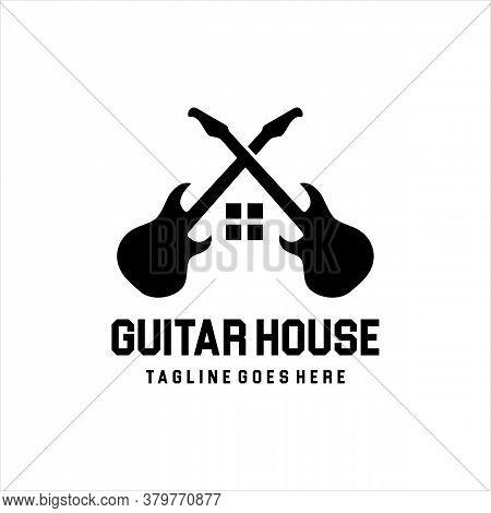 House Of Guitar Logo Design Vector Template, Guitar House Music Logo. Vector Icon Illustration