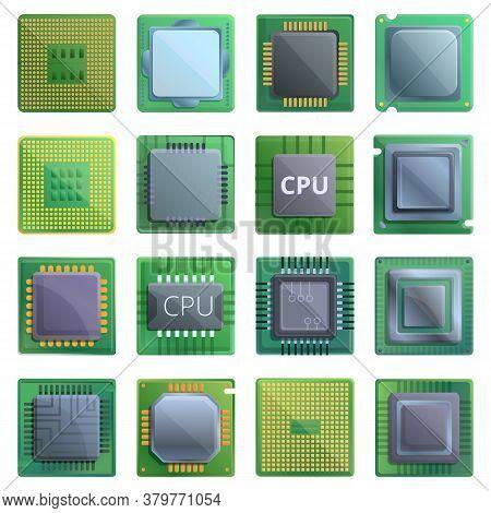 Processor Icons Set. Cartoon Set Of Processor Vector Icons For Web Design