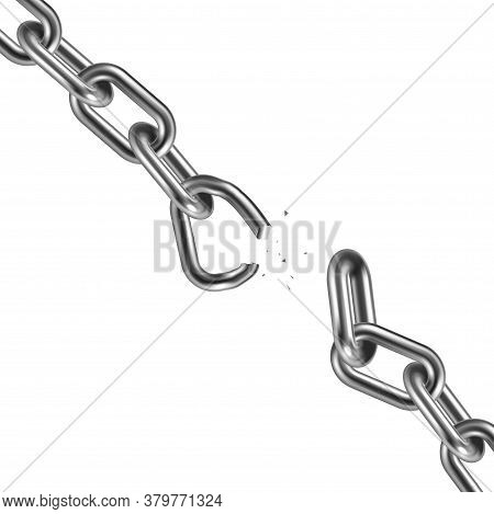 Metal Broken Chain 3d. Freedom Concept. Vector Illustration.