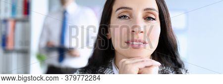 Beautiful Woman Boss In Suit Sitting In Office. Well Developed Intuition. Self-esteem And Self-gover