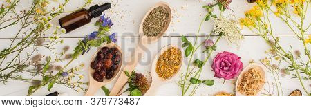 Panoramic Shot Of Herbs In Spoons Near Flowers And Bottle On White Wooden Background, Naturopathy Co