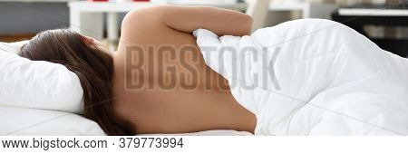 Naked Girl Sleeps At Home Under White Blanket. Insomnia And Normalization Sleep. To Tune Up Body For