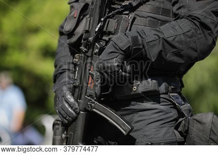 Bucharest, Romania - July 29, 2020: Details With An Officer From The Special Actions And Interventio