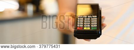Man Holds Commercial Portable Banking Terminal. To Install Wireless Terminal For Business. Convenien