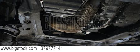 Car Shop, Is Process Draining Used Oil In Car. Installation For Collecting Waste Oil. Draining Engin